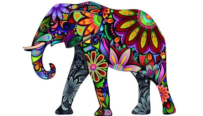 soñar con elefante de colores